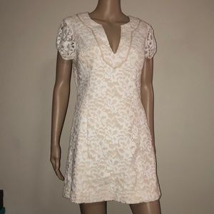 BeBe white lace with tan underlining Dress